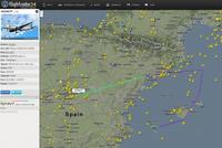IWD667P - Siirtolento Ibizalta Helsinkiin kääntyi Madridiin. Kuvakaappaus: Flightradar24.com
