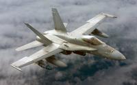 Ilmavoimien MLU-2 -päivitetty Hornet. Hävittäjän oikeassa siivessä on JDAM-pommi ja vasemmassa siivessä näkyy JSOW-liitopommi.