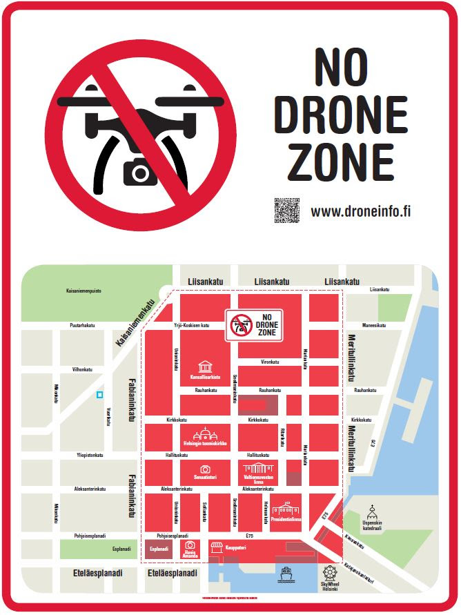 Areas for not flying a drone in Finland